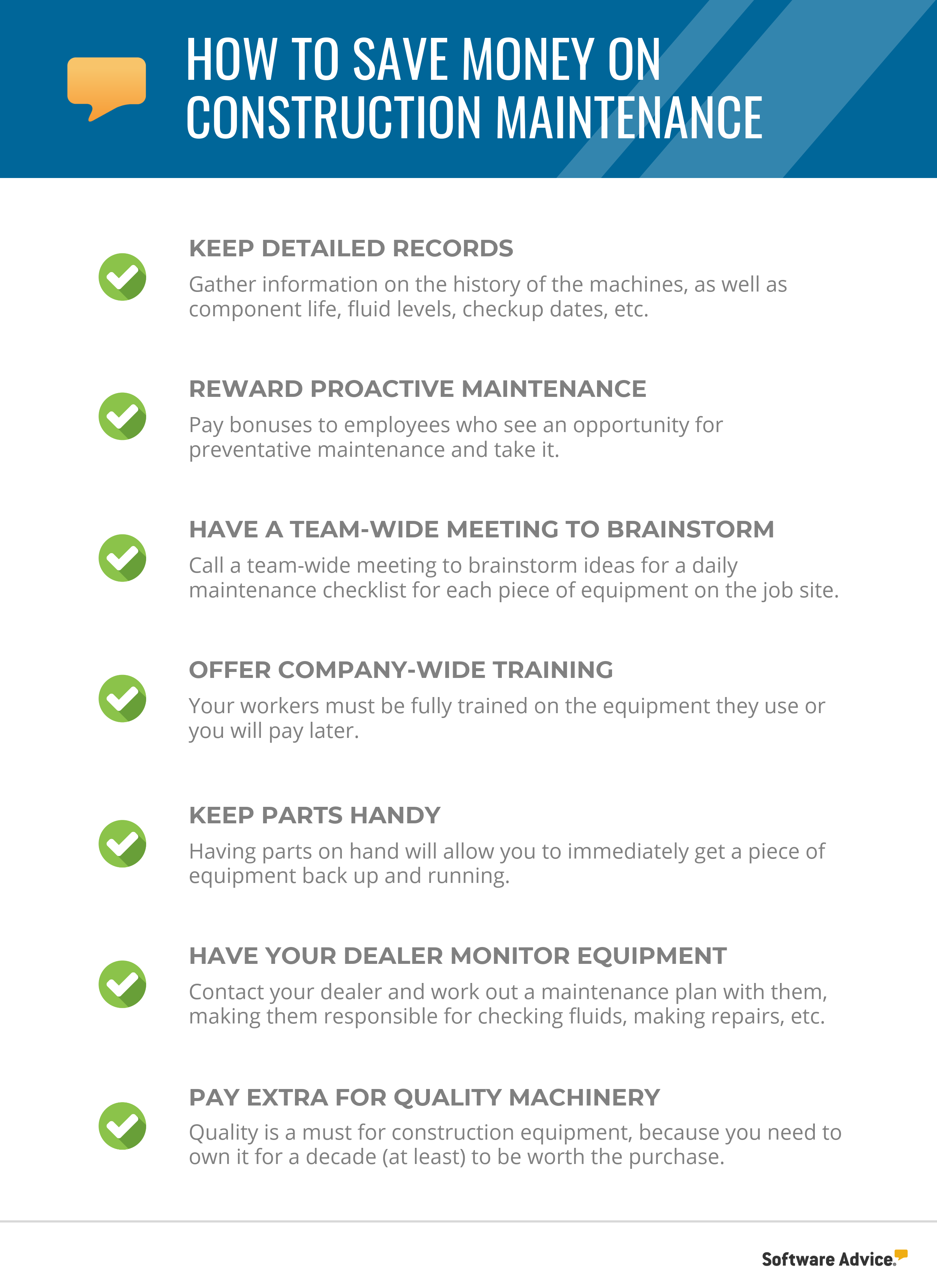 how to save money on construction maintenance
