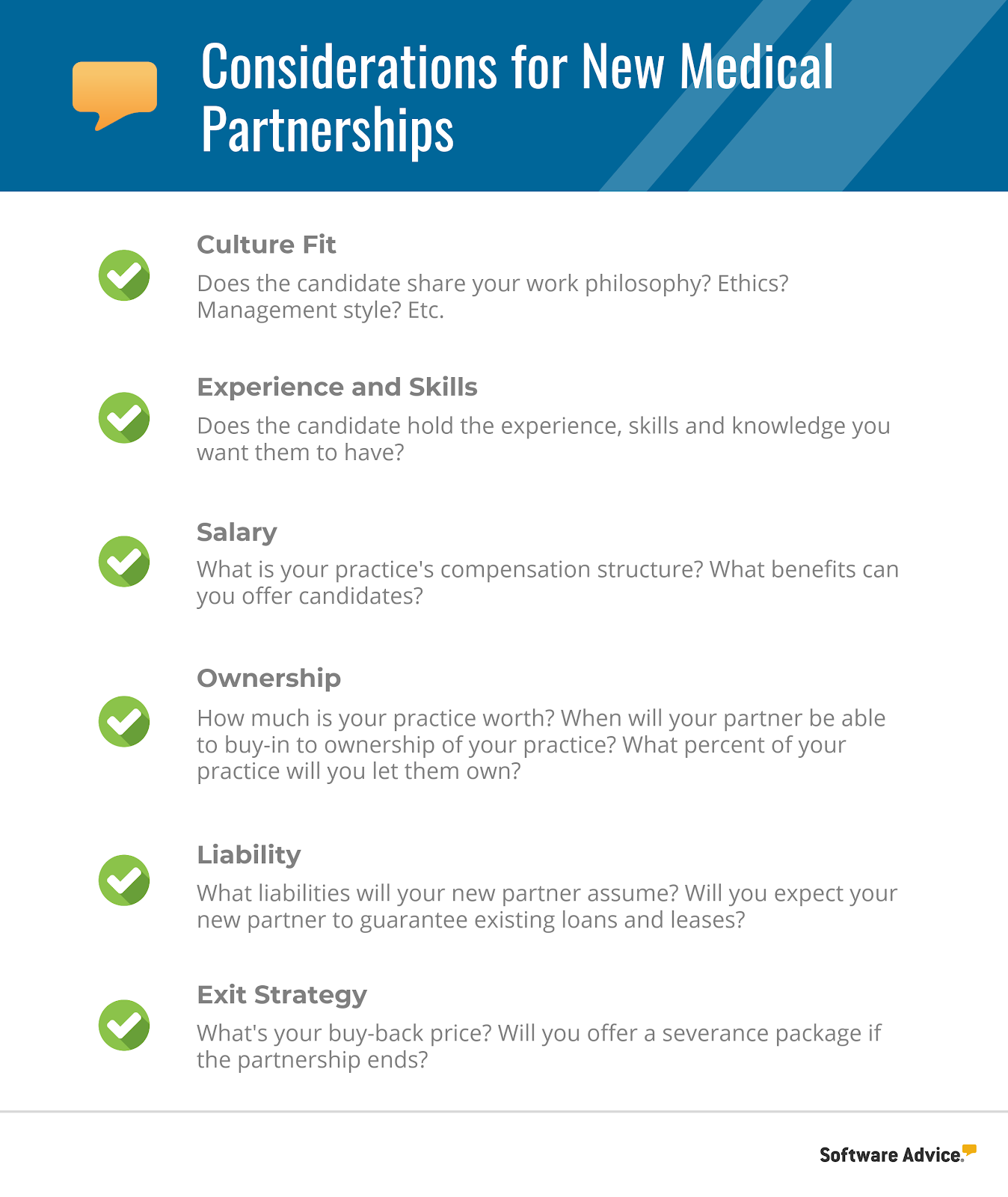 New Medical Partnership Considerations Checklist