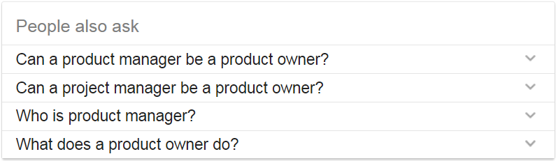 Google results on product owner vs product manager
