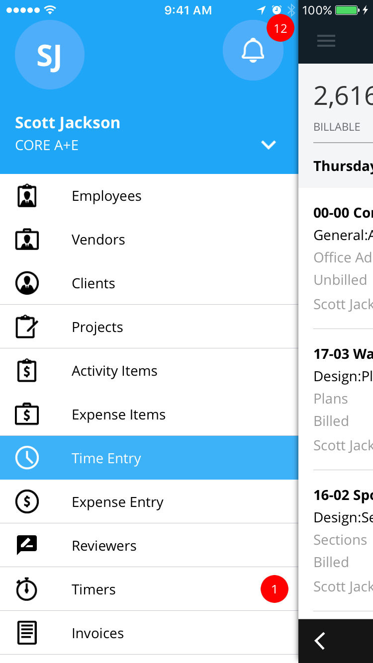 Capturing employee hours via a mobile app in BQE Core