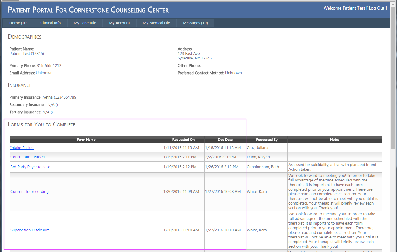 Fill pre-visit forms in ClinicTracker Connect patient portal