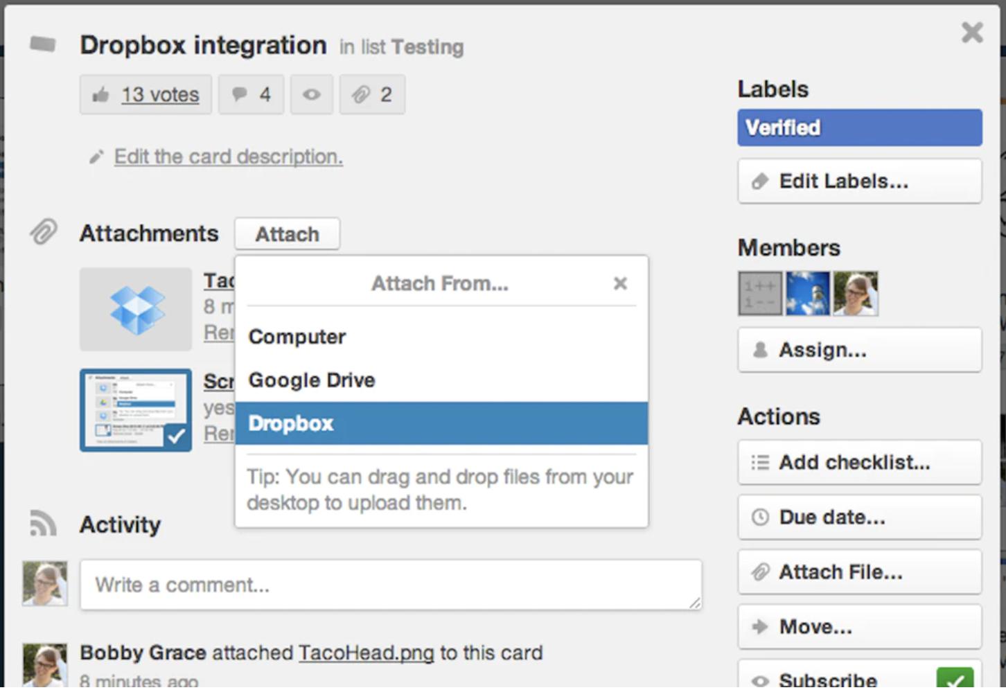 document sharing in Trello screenshot