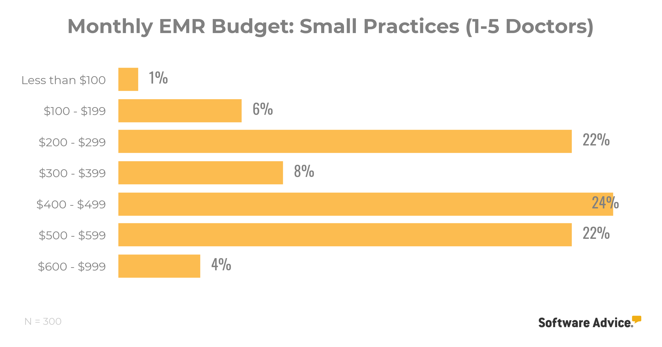 chart of monthly emr budget for small practices