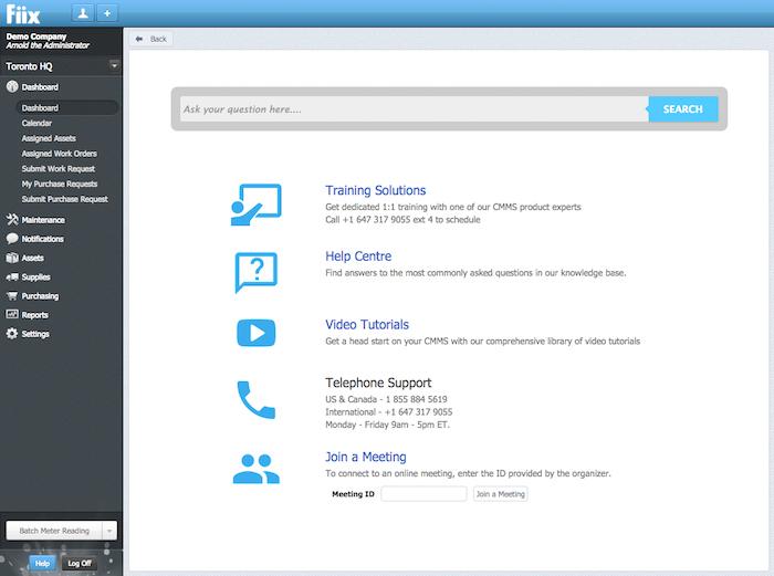 Fiix help center screenshot