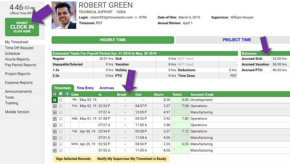 Time tracking reports in Timesheets.com