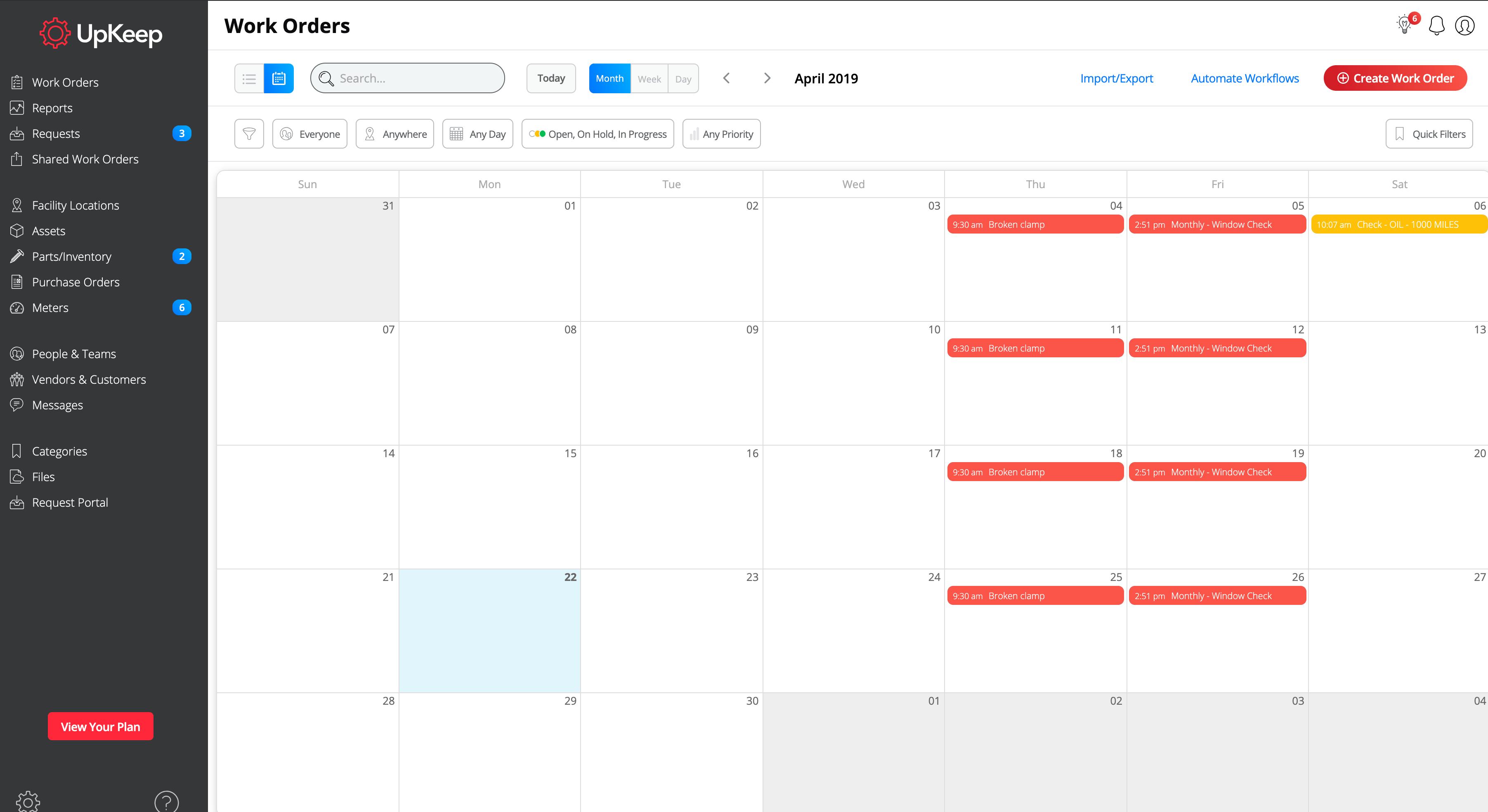 Work order schedules in Upkeep CMMS