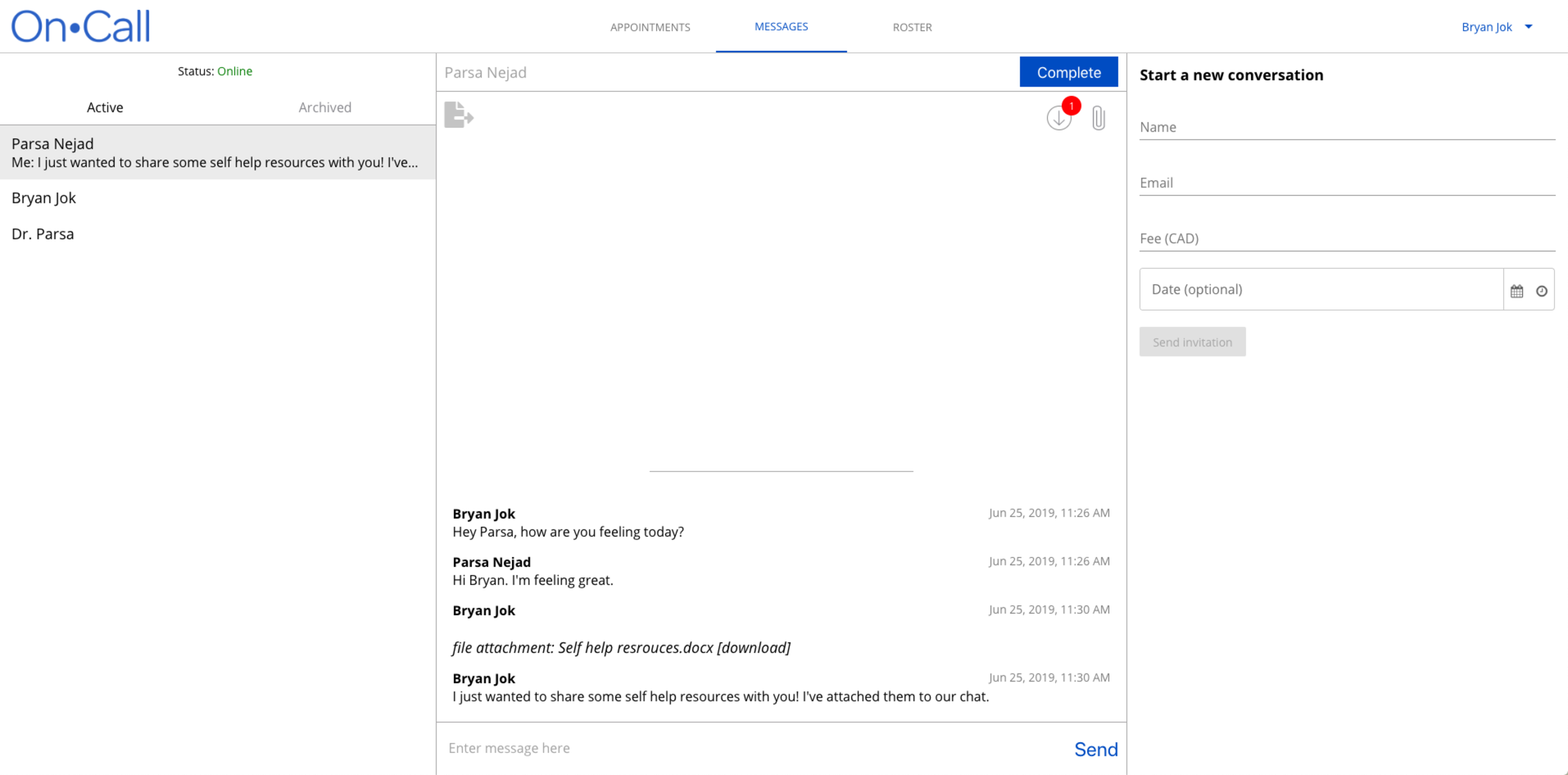 An example of OnCall Health's instant chat messaging services