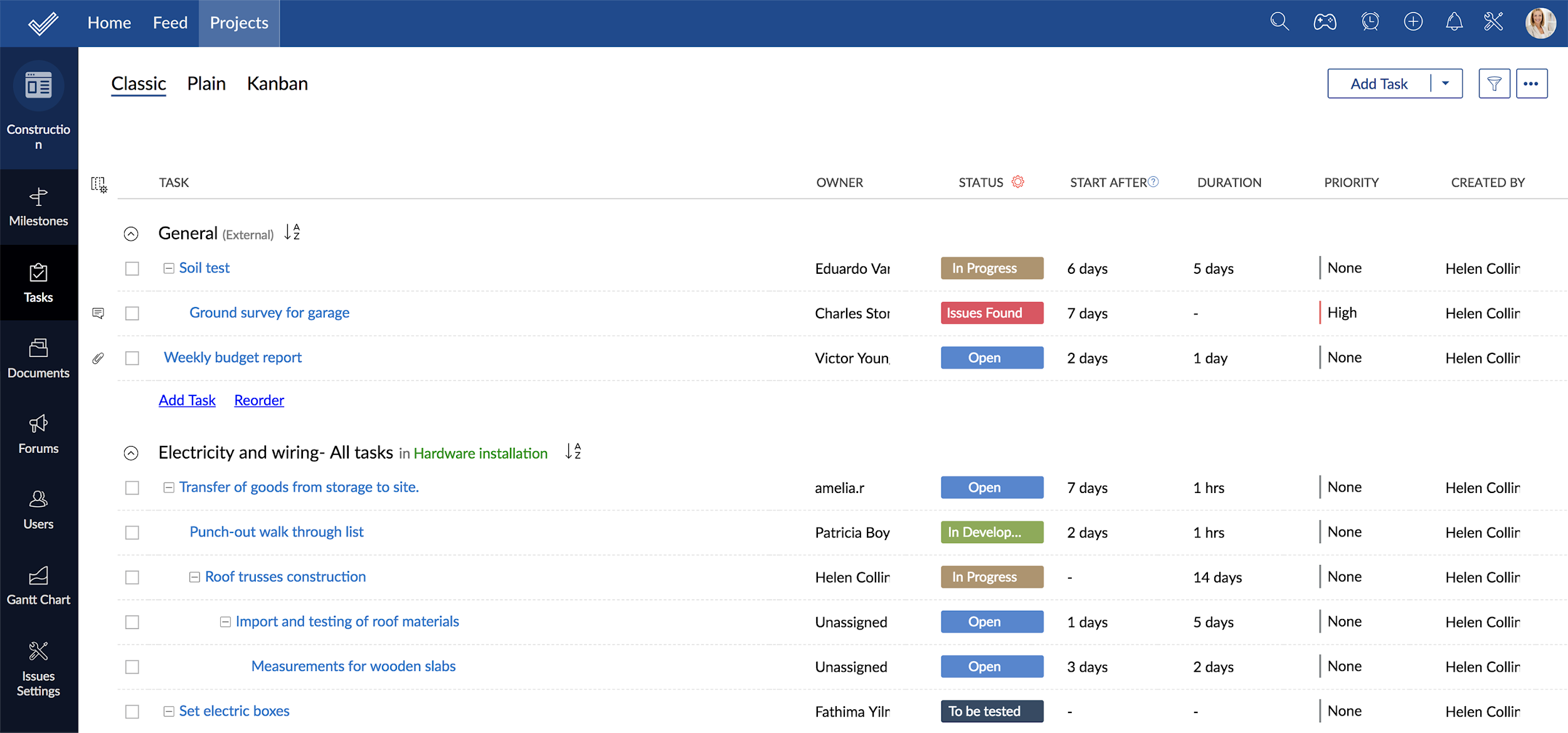Assigning priority to projects in Zoho Projects