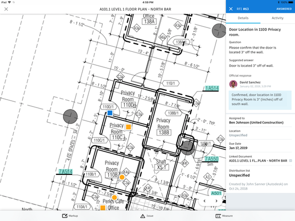 An example of a drawing in BIM 360