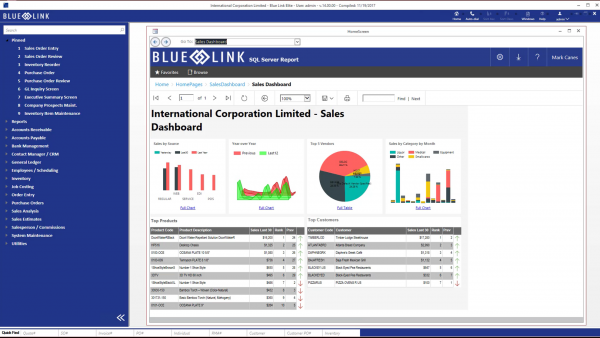 Dashboard View in Blue Link ERP