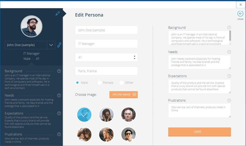 CEMantica's persona creation tool