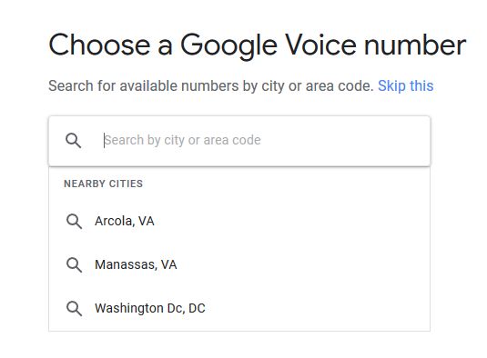 a screenshot of the Google Voice number selection screen