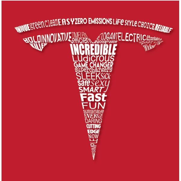 Tesla word cloud brand reputation