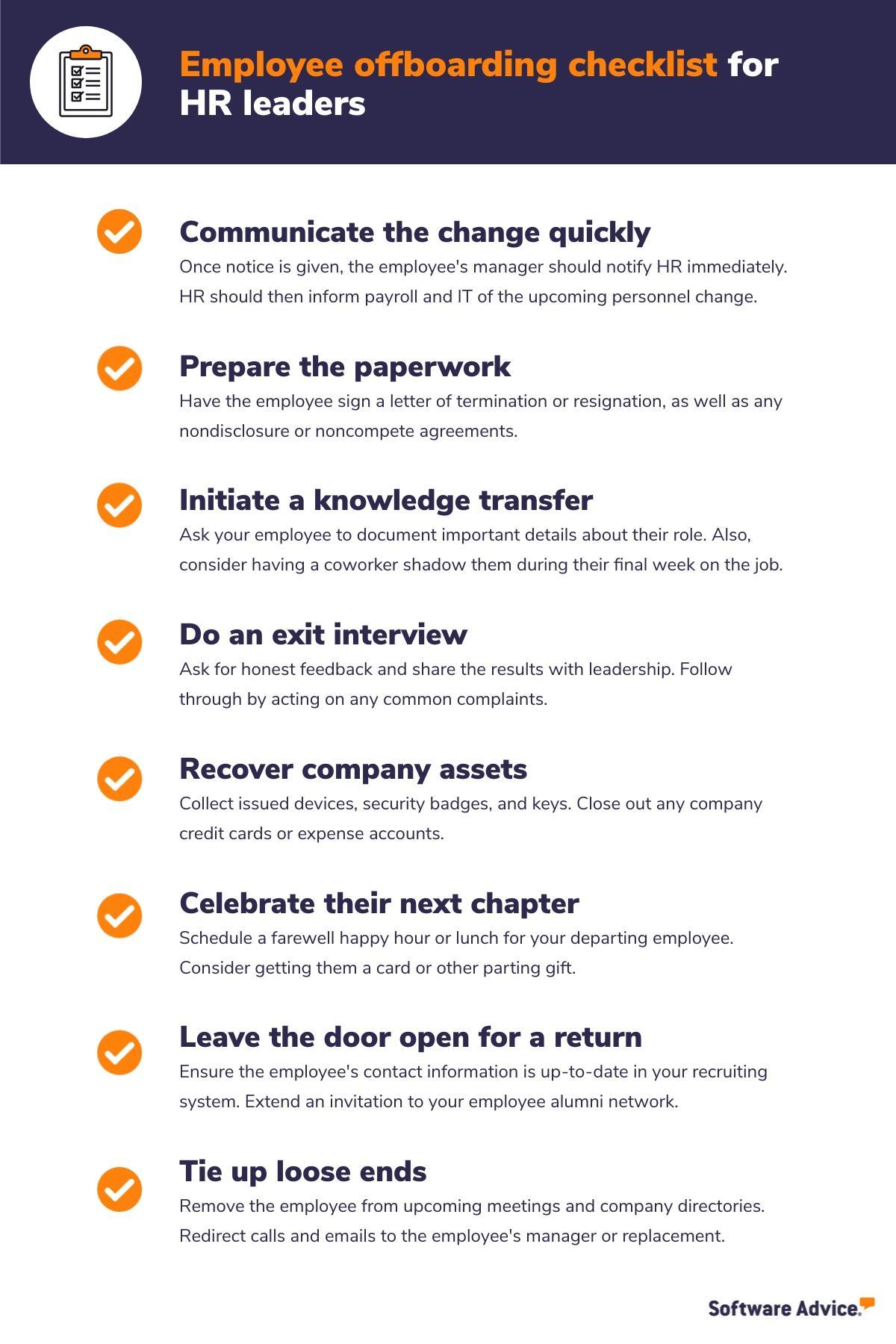 Employee offboarding checklist