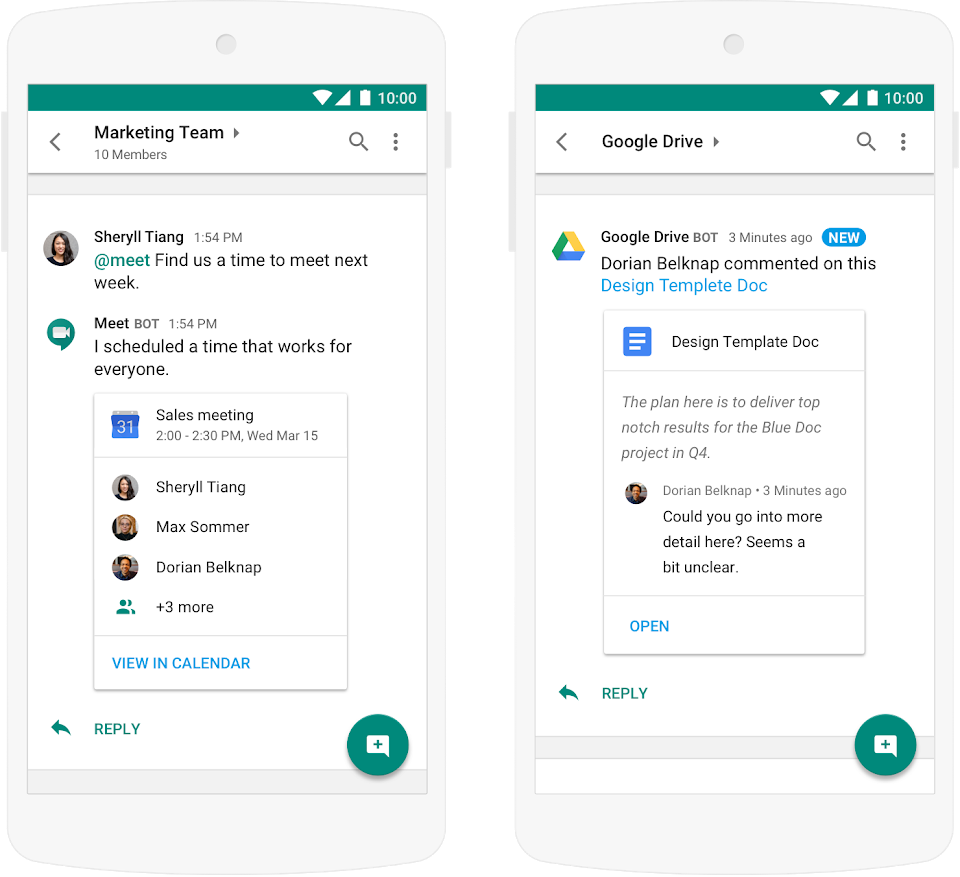 Example of chat interface in Google Chat