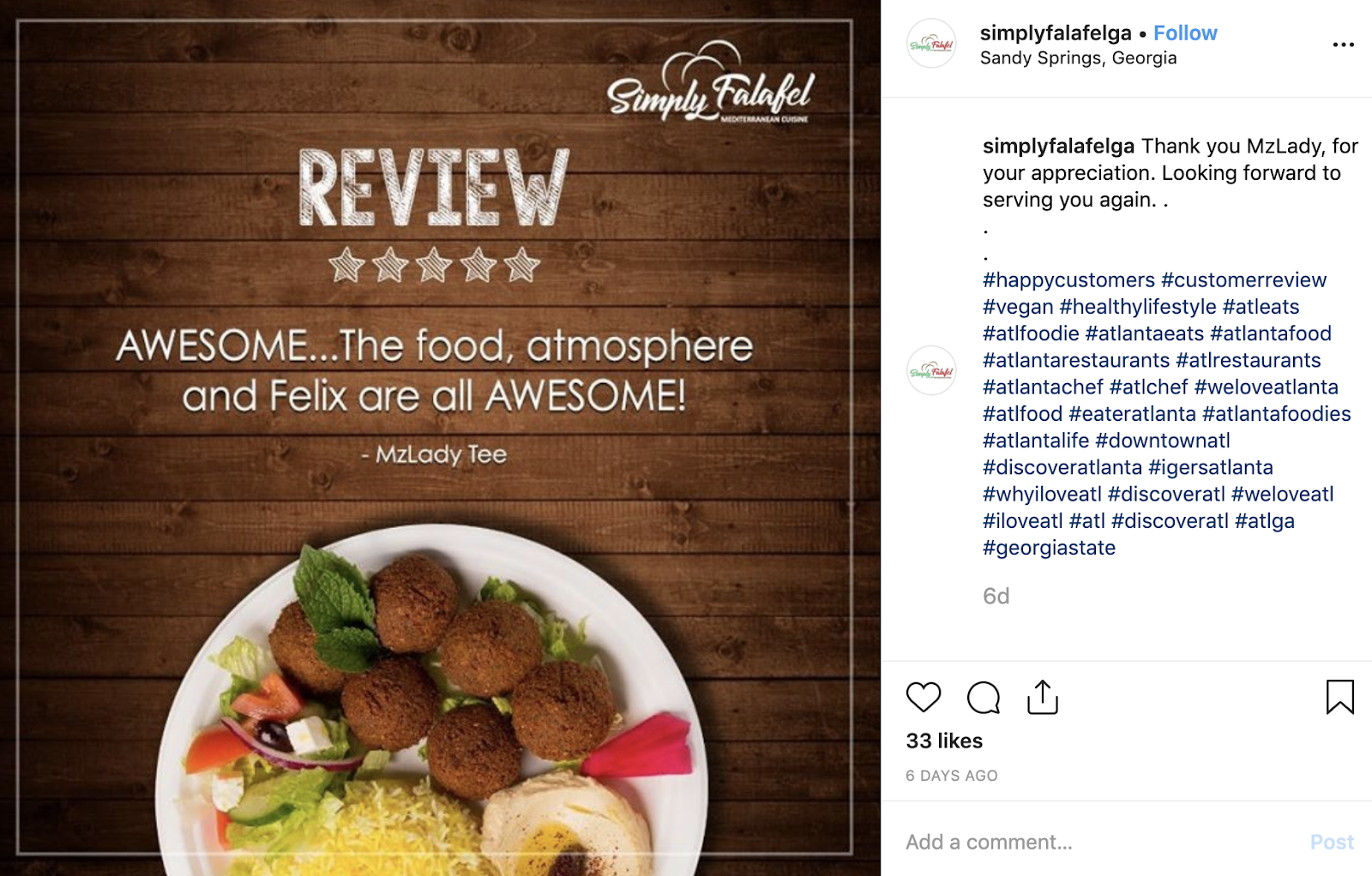 Simply Falafel online review