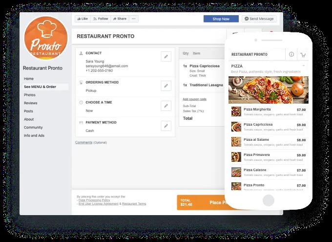 Commande Facebook intégrée à l'application de restaurant dans GloriaFood