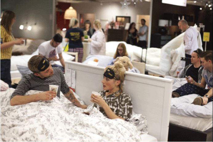 Fans enjoying sleepover in IKEA showroom