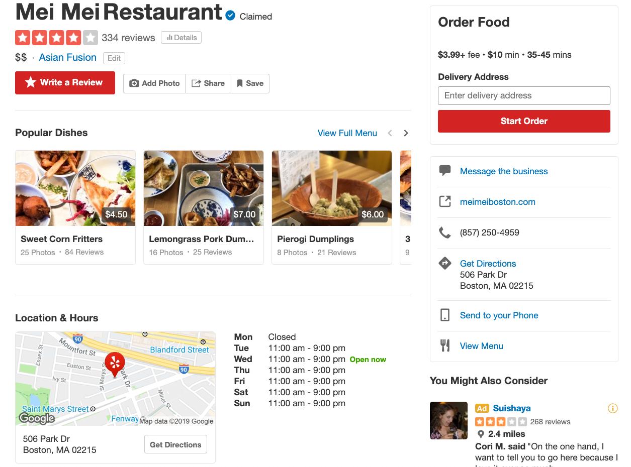 mei mei restaurant online review