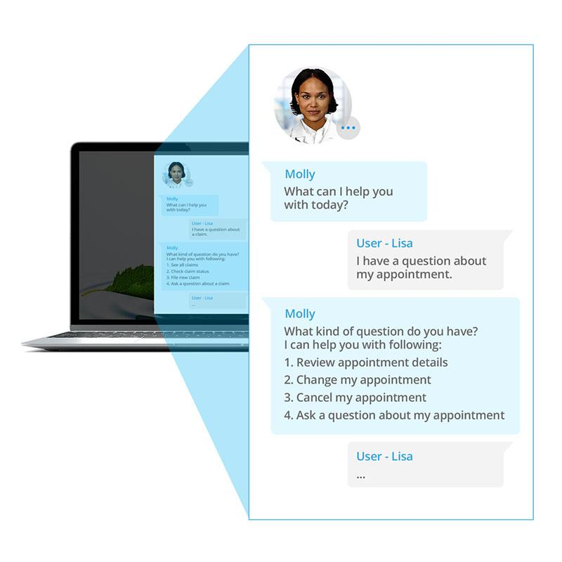 Image of Sensely's AI-powered virtual assistant, Molly, helping a user