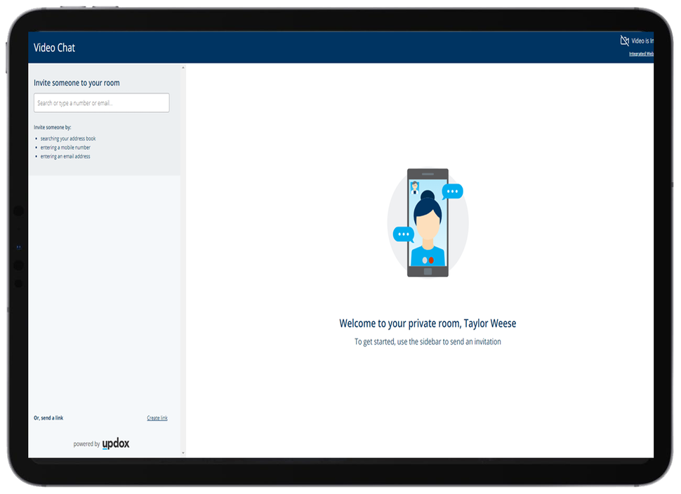 Live video chat feature in Updox telemedicine software