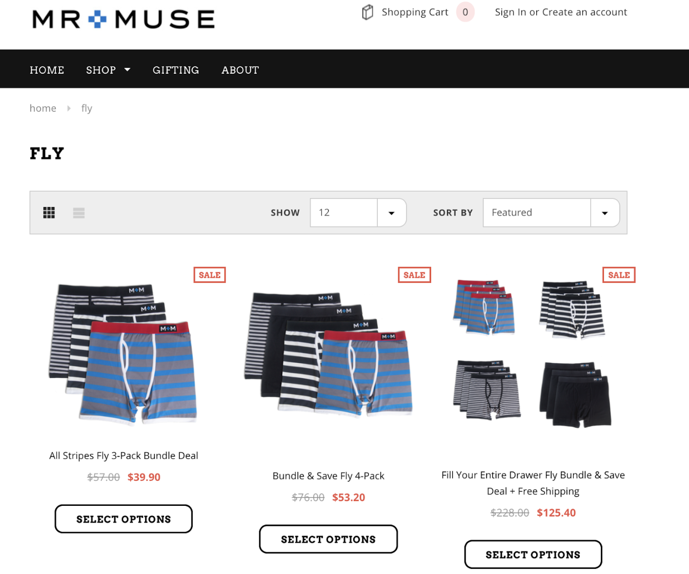 Mr and Muse ecommerce website