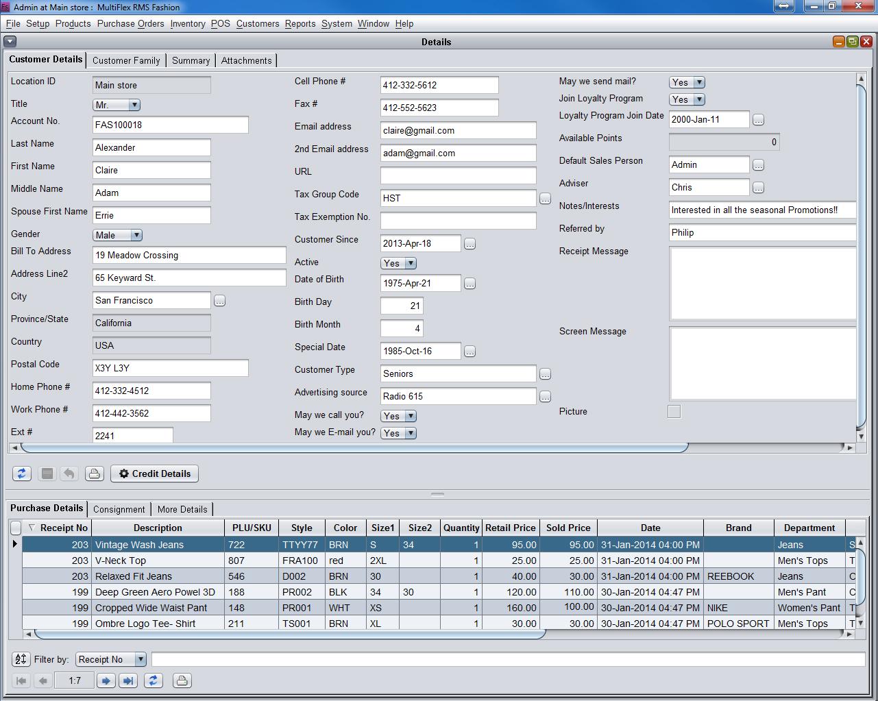 MultiFlex RMS Fashion and Apparel's customer data dashboard