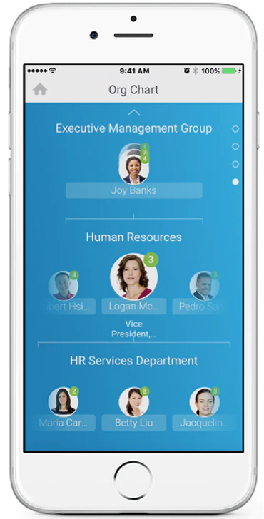 Organization chart in Workday HCM's mobile app