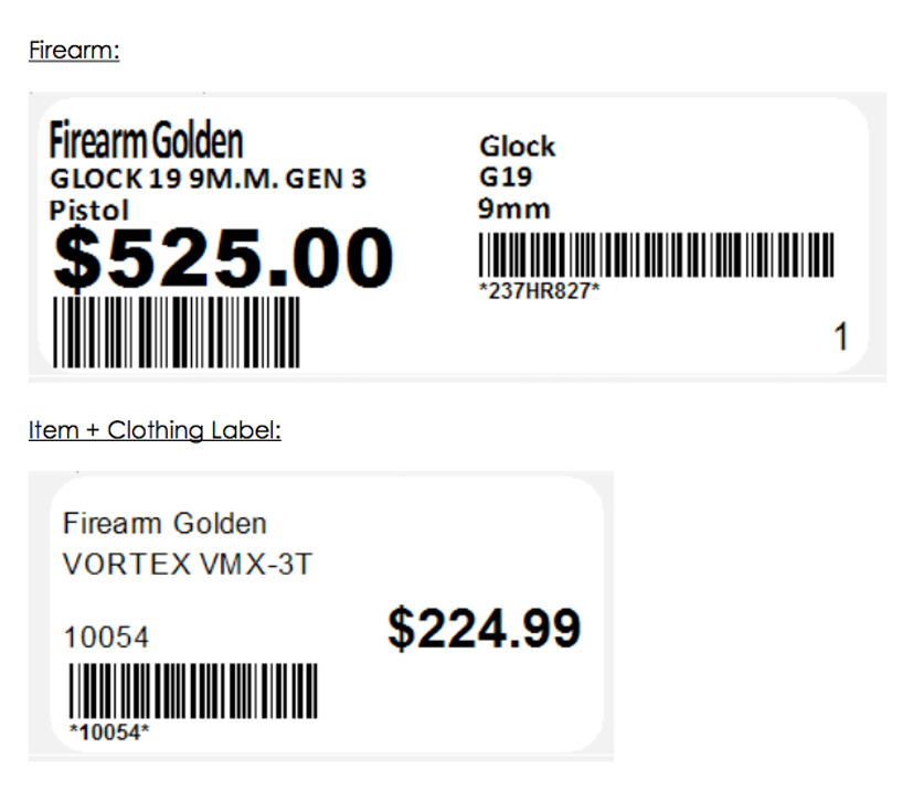Product labels with Barcodes for scanning in Rapid Guns Systems Software