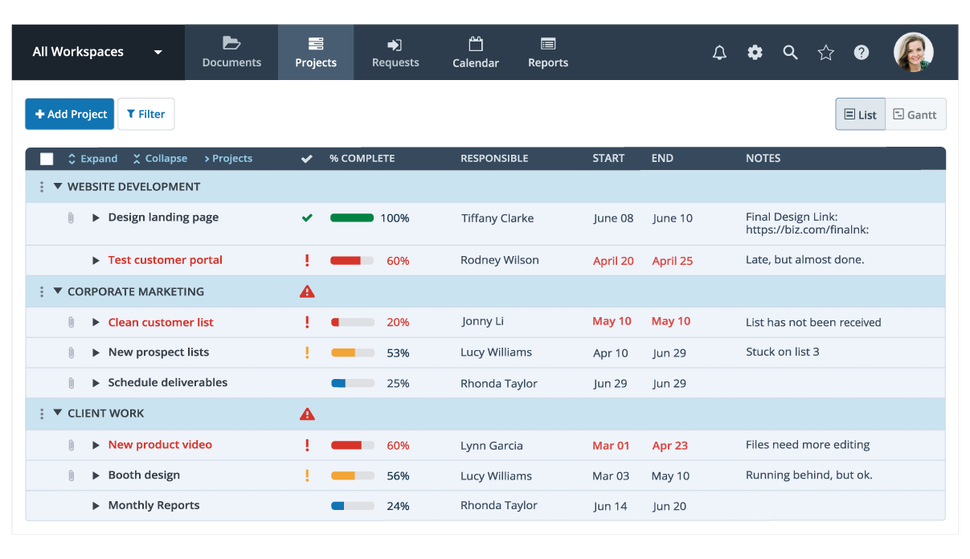 project management dashboard in Workzone showing projects, percent complete, who is responsible, deadlines, and notes