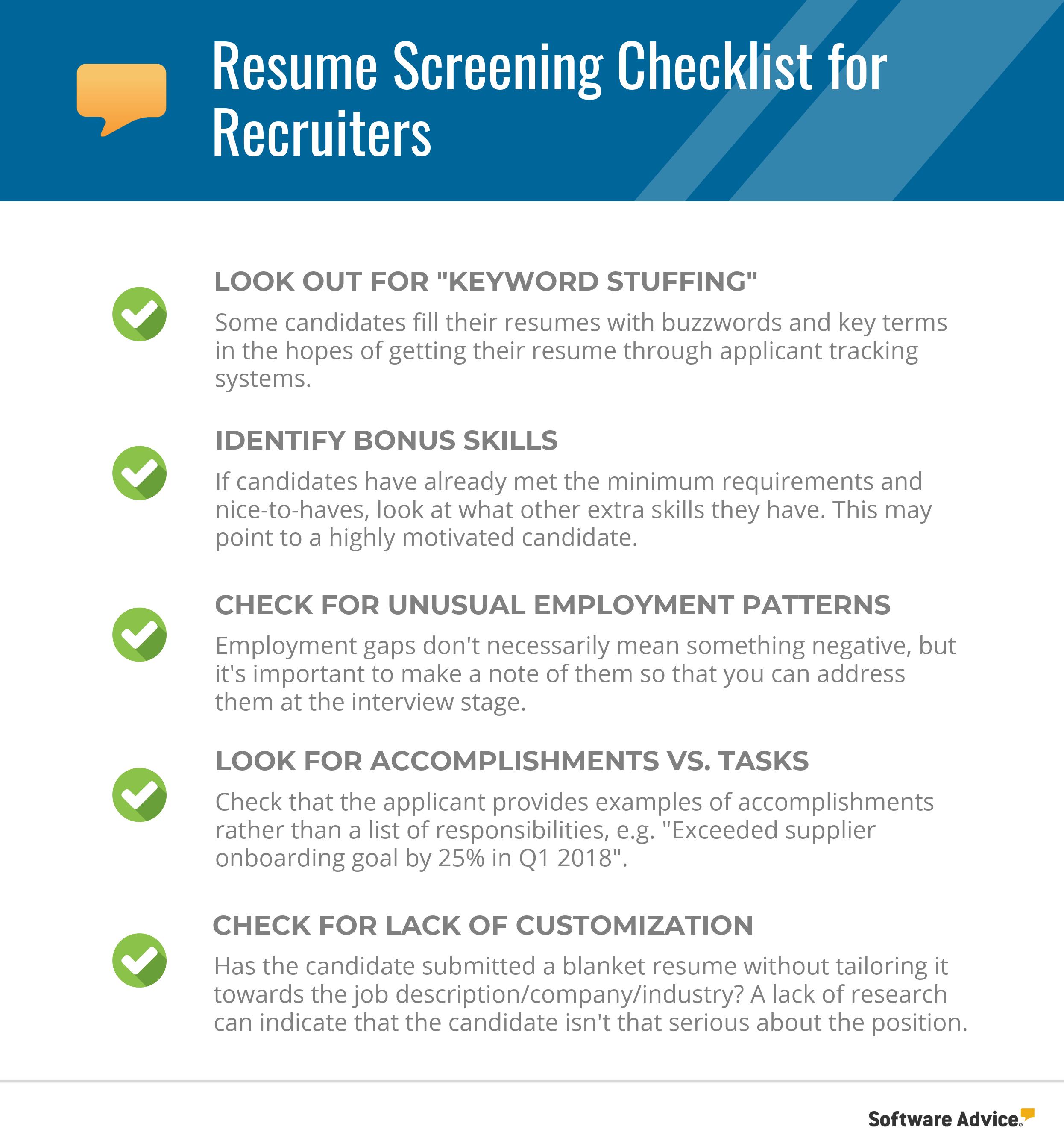 resume screening checklist for the best candidate shortlist