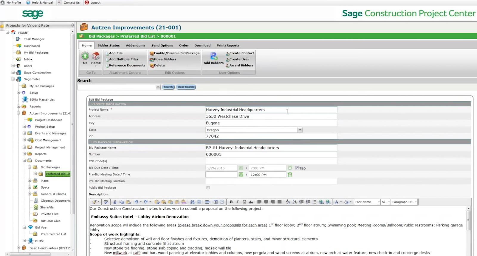 screenshot of Sage Bid Management software