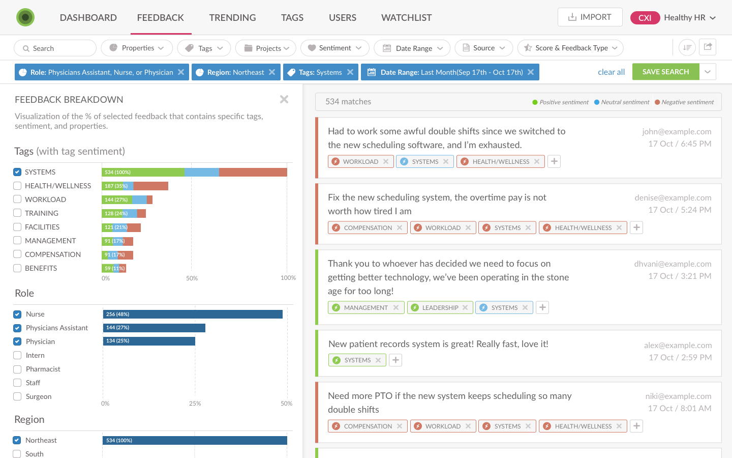 Screenshot of Employee feedback segmentation in Wootric