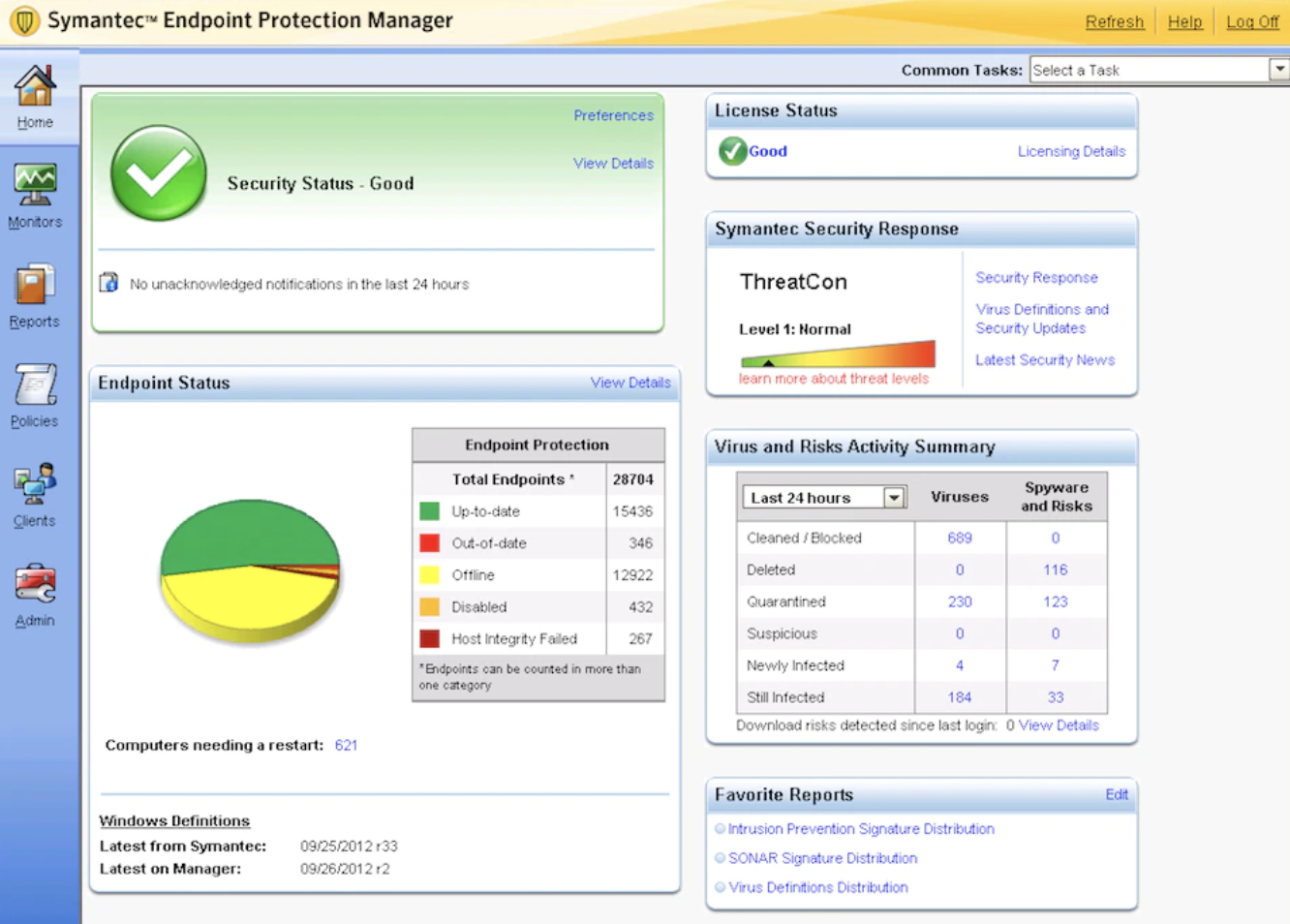 screenshot of endpoint security software dashboard Symantec