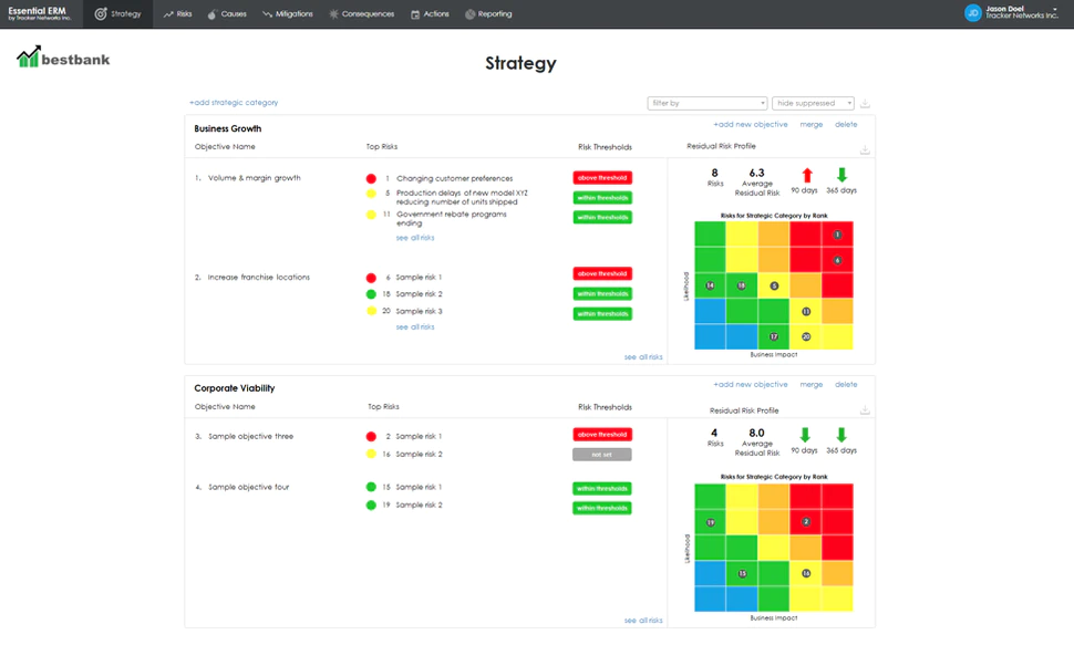screenshot of risk reporting in Essential ERM software