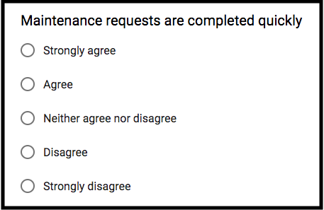 Tenant satisfaction survey question example