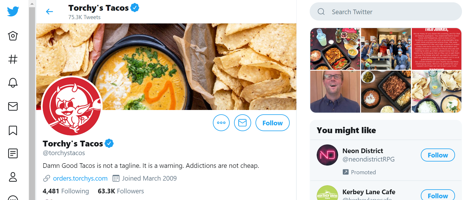 Torchy's Tacos Twitter page, showing recent posts and a header image of tortilla chips and queso