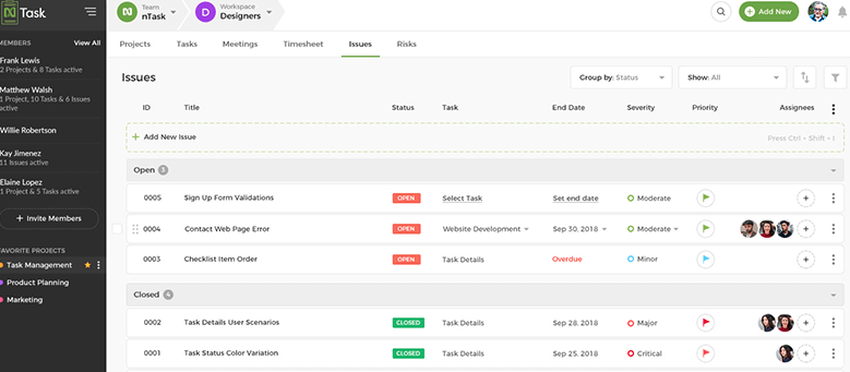 screenshot of ntask's cloud-based tool for individuals and small teams
