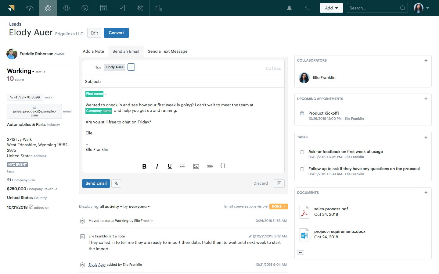 Zendesk Sell's Client Notes